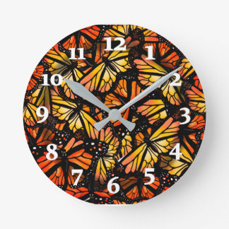 MONARCH BUTTERFLIES by Slipperywindow Round Clock