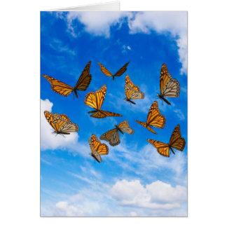 Monarch butterflies in the sky card