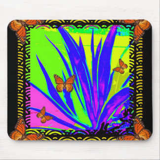 Monarch Butterflies Purple Tropical Foliage Gifts Mouse Pad