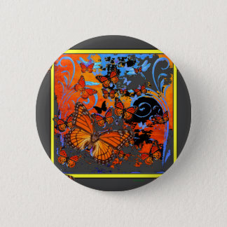 Monarch Butterflies Stormy Weather Art 6 Cm Round Badge