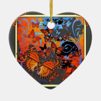 Monarch Butterflies Stormy Weather Art Ceramic Heart Decoration