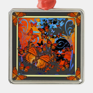 Monarch Butterflies Stormy Weather Art Silver-Colored Square Decoration