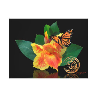 Monarch Butterfly and Canna Lily on canvas