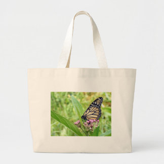 Monarch Butterfly and Pink Wild Flowers Tote Bag