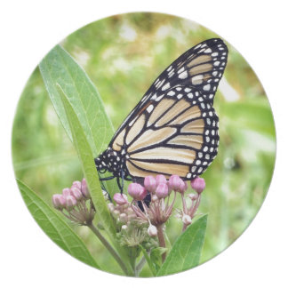 Monarch Butterfly and Pink Wild Flowers Dinner Plate