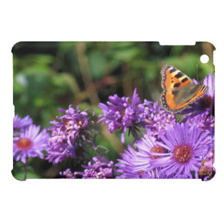 Monarch butterfly and purple flowers iPad mini case