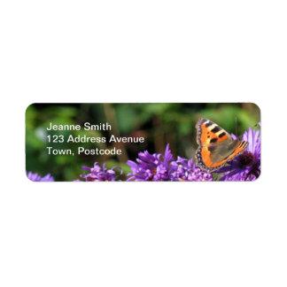 Monarch butterfly and purple flowers return address label