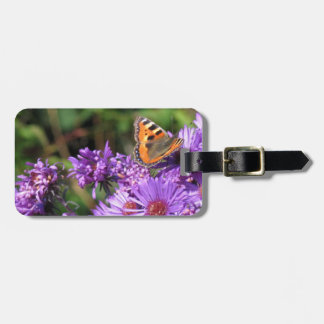 Monarch butterfly and purple flowers luggage tag
