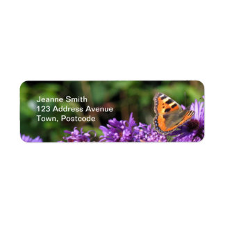 Monarch butterfly and purple flowers return address label