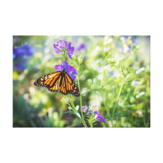 Monarch Butterfly and Purple Flowers Stretched Canvas Print