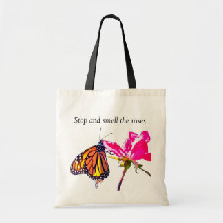 Monarch Butterfly and Rose Tote Budget Tote Bag