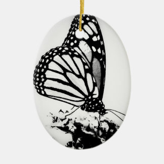 Monarch Butterfly, Black and White - Ceramic Oval Decoration