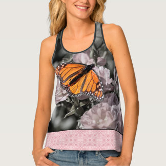 Monarch Butterfly Black Pink Gothic Tile Border Singlet