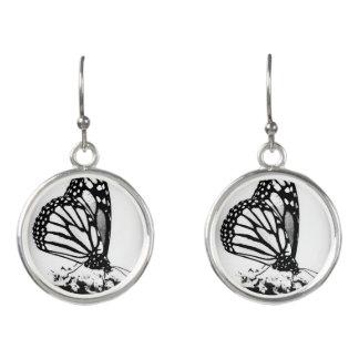 Monarch Butterfly, Black & White - Earrings
