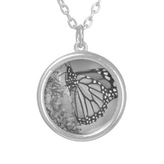 Monarch Butterfly Clothing Silver Plated Necklace
