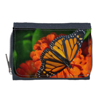 Monarch Butterfly Denim Wallet with Coin Purse