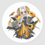 Monarch Butterfly Fairy Round Stickers