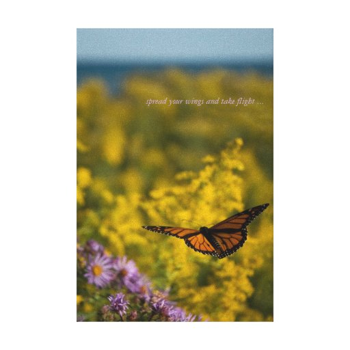 Monarch Butterfly Flight Wild Flower Meadow Lake Gallery Wrap Canvas