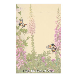 Monarch Butterfly Flowers Floral Wildlife Customized Stationery