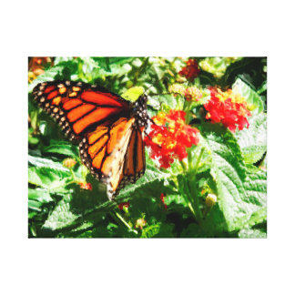 Monarch Butterfly Fluttering Lantana Painting Canvas Print