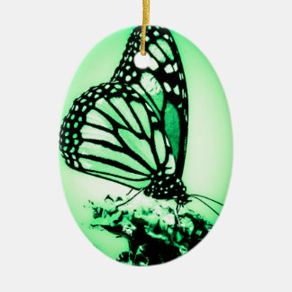 Monarch Butterfly, Green Ceramic Oval Decoration