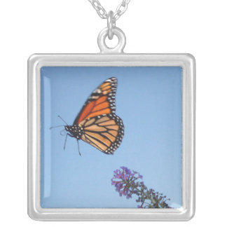 Monarch butterfly in flight necklace