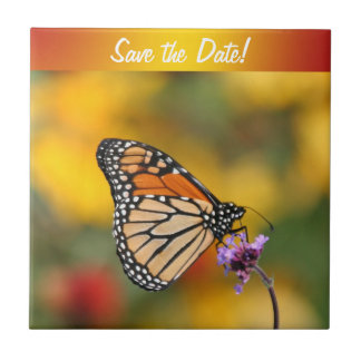 Monarch Butterfly In Search of Pollen Small Square Tile