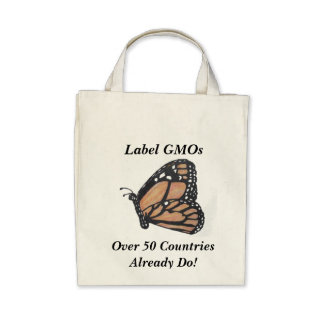 """Monarch Butterfly """"Label GMOs"""" Canvas Bag"""