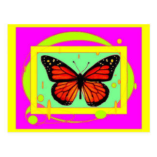 Monarch Butterfly, lime ,Purple Gifts by Sharles Postcard