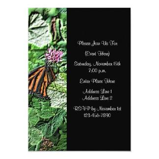Monarch Butterfly Nature Art Black Invitation