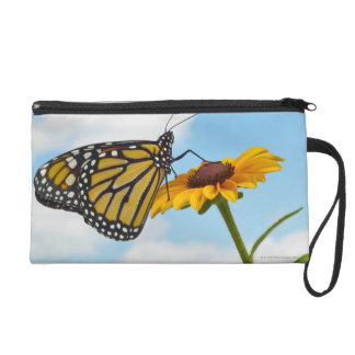 Monarch Butterfly on a Black Eyed Susan Wristlet Clutches