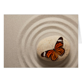 Monarch Butterfly on a Stone in a Zen Garden Greeting Card