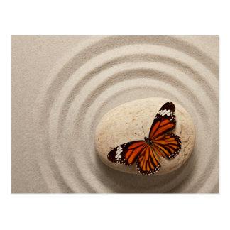 Monarch Butterfly on a Stone in a Zen Garden Postcard