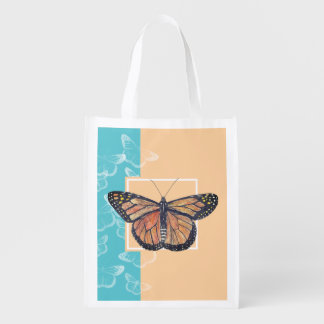 Monarch Butterfly on Blue and Sand Reusable Grocery Bag