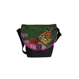 Monarch Butterfly on Coneflower Courier Bag