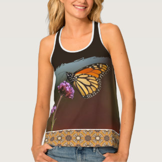Monarch Butterfly on Flower and Mosaic Tile Singlet