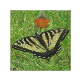 Monarch Butterfly on flower painting style Stretched Canvas Print