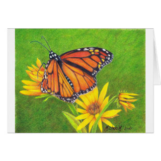 monarch butterfly on flowers greeting card