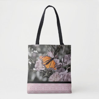 Monarch Butterfly on Flowers Pink Gothic Tile Tote Bag