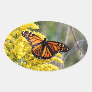Monarch Butterfly on Goldenrod Oval Sticker