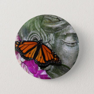 Monarch Butterfly on Kwan Yin 6 Cm Round Badge