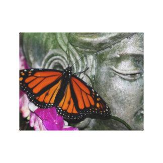 Monarch Butterfly on Kwan Yin Canvas Print