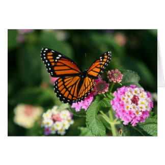 Monarch Butterfly on Lantana Flower Greeting Card