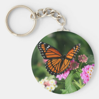 Monarch Butterfly on Lantana Flower Key Ring