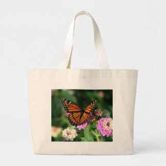Monarch Butterfly on Lantana Flower Jumbo Tote Bag