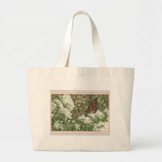 Monarch Butterfly on Milkweed Flowers Painting Canvas Bags