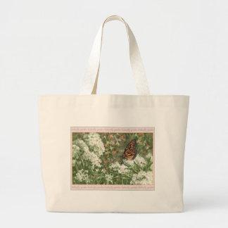 Monarch Butterfly on Milkweed Flowers Painting Jumbo Tote Bag