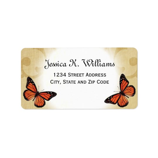 Monarch Butterfly on Parchment Address Label