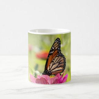 Monarch Butterfly on Pink Flower Mugs