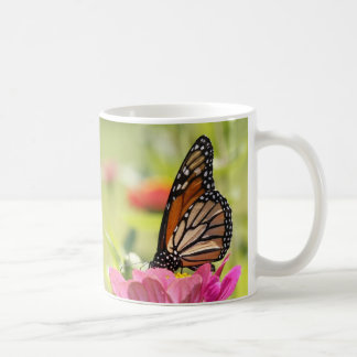 Monarch Butterfly on Pink Flower Mug
